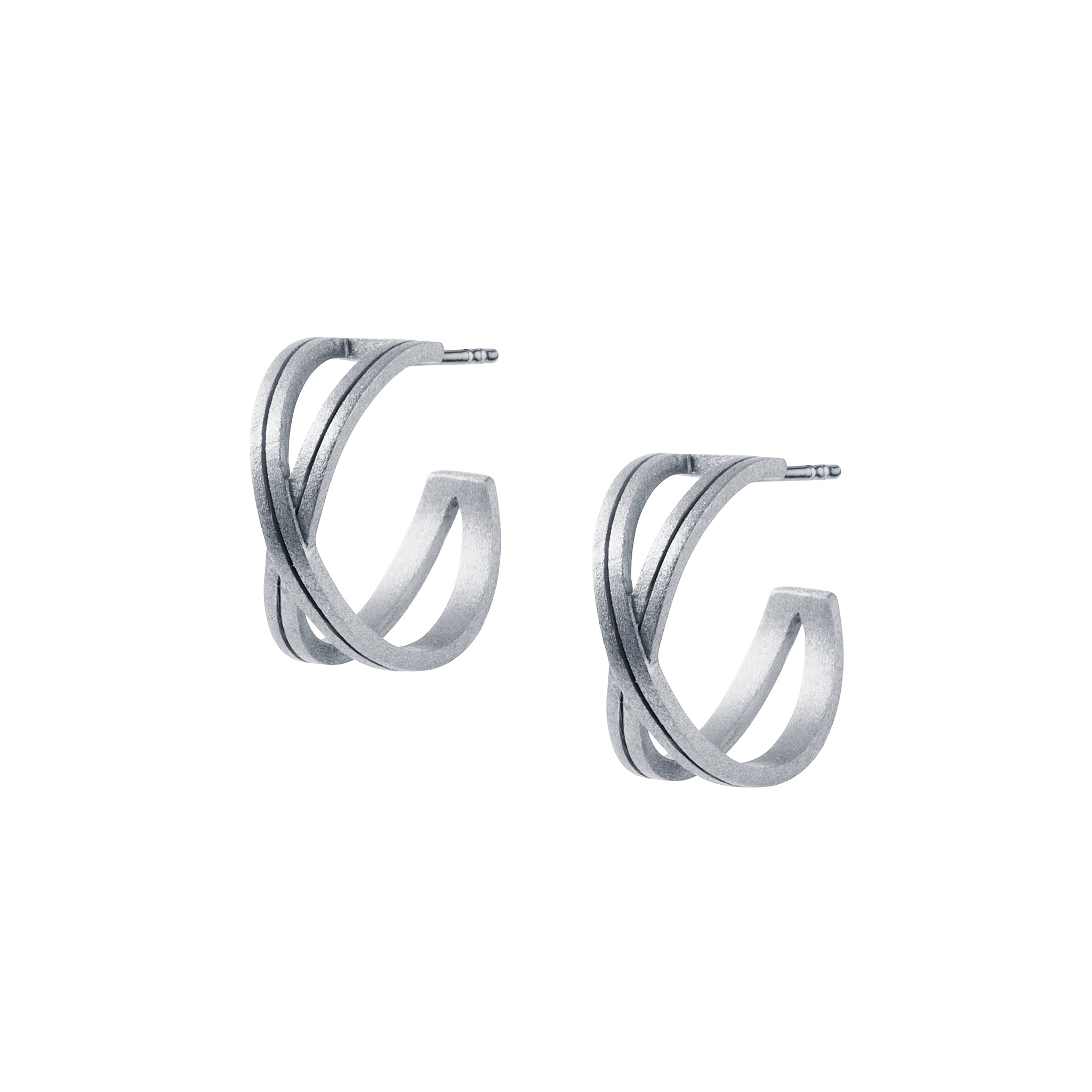 silver crossover hoop stud earrings by christin ranger