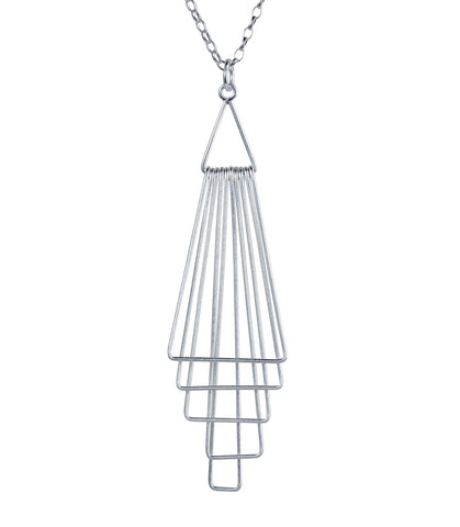 silver pyramid pendant necklace by christin ranger