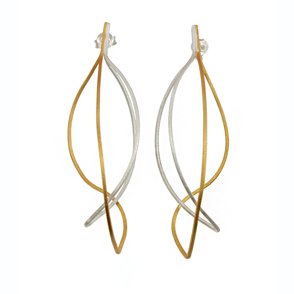 Kinetic Silver & Gold Plated Earrings by Christin Ranger