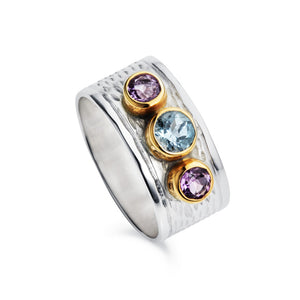 Silver Milan Ring With Blue Topaz and Amethyst by Christin Ranger