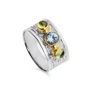 Silver Milan Ring With Blue Topaz and Peridot Gemstones by Christin Ranger