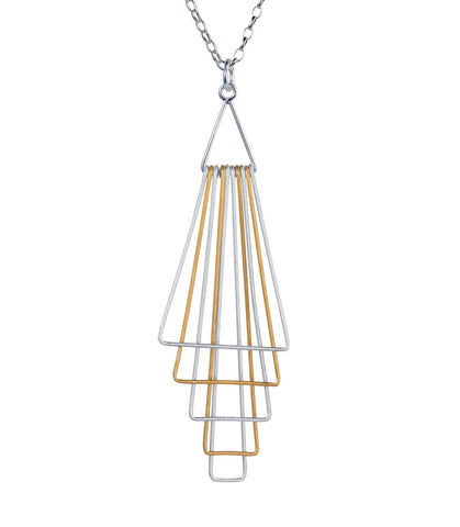 pyramid silver gold plated drop pendant necklace by christin ranger