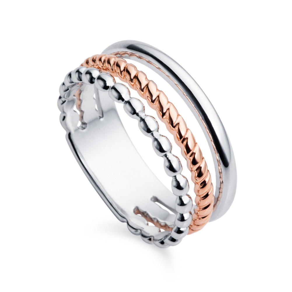 Trio Rose Gold & Silver Ring by Christin Ranger