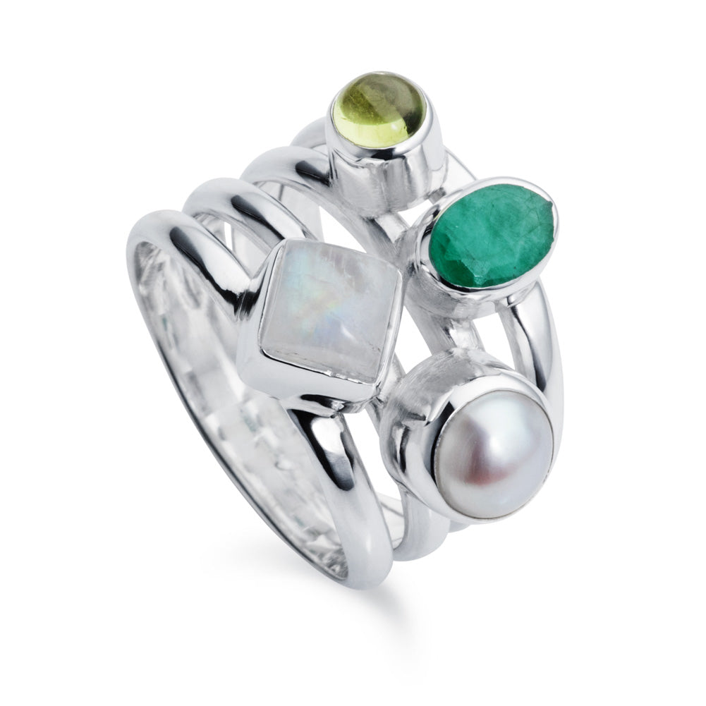 silver cluster ring with emerald pearl tourmaline moonstone by christin ranger