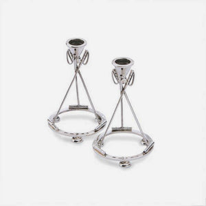 a par of sterling silver modern candlesticks with a polo theme