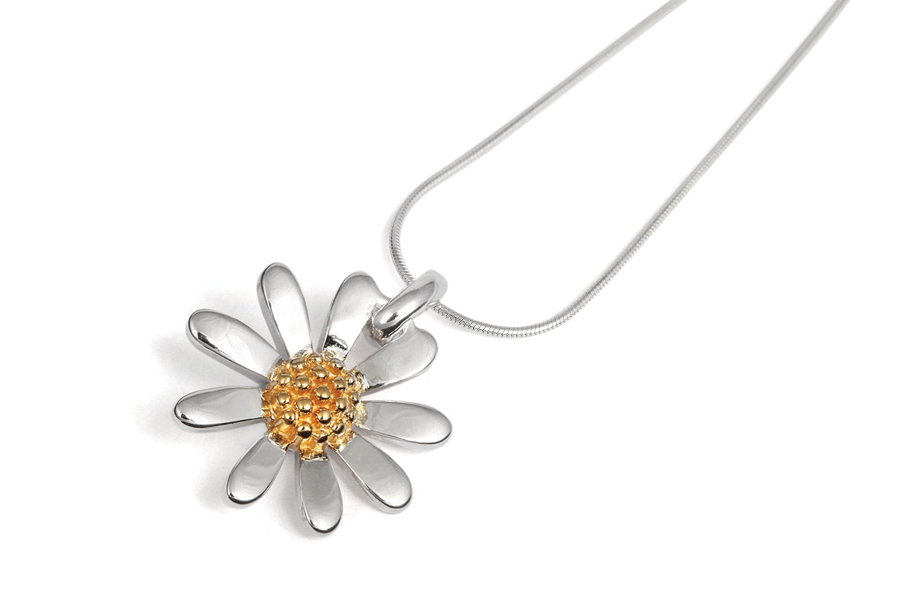 Silver Daisy Pendant and Chain