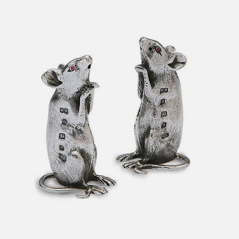 a beautiful fine quality set of mice as salt and pepper mills all made in silver with full british hallmark