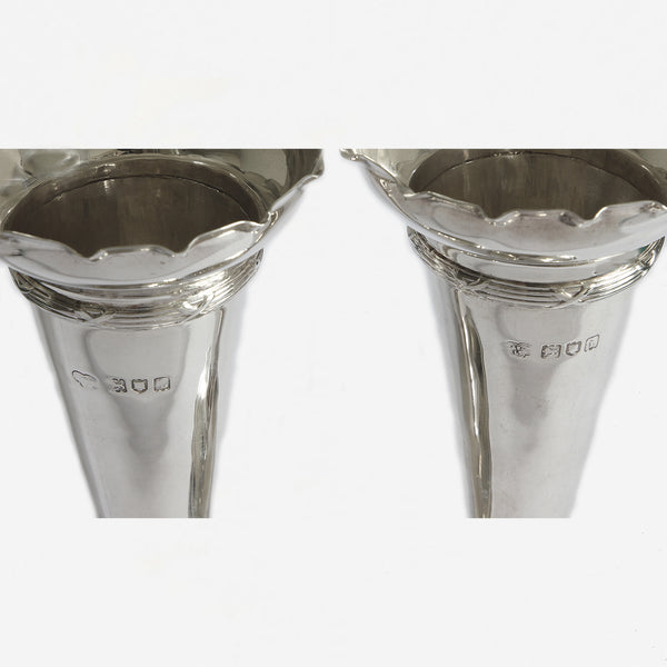 a secondhand pair of sterling silver trumpet vases with wavy edge at Marston Barrett in lewes