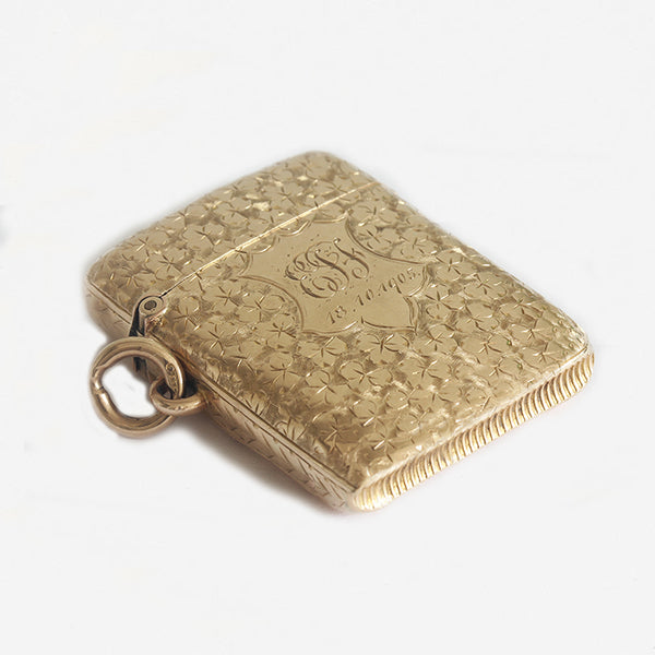 a victorian gold vesta case with leaf pattern and engraving cartouche
