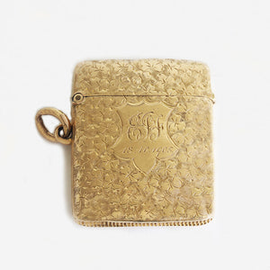 a secondhand 9 carat yellow gold vesta case dated 1886