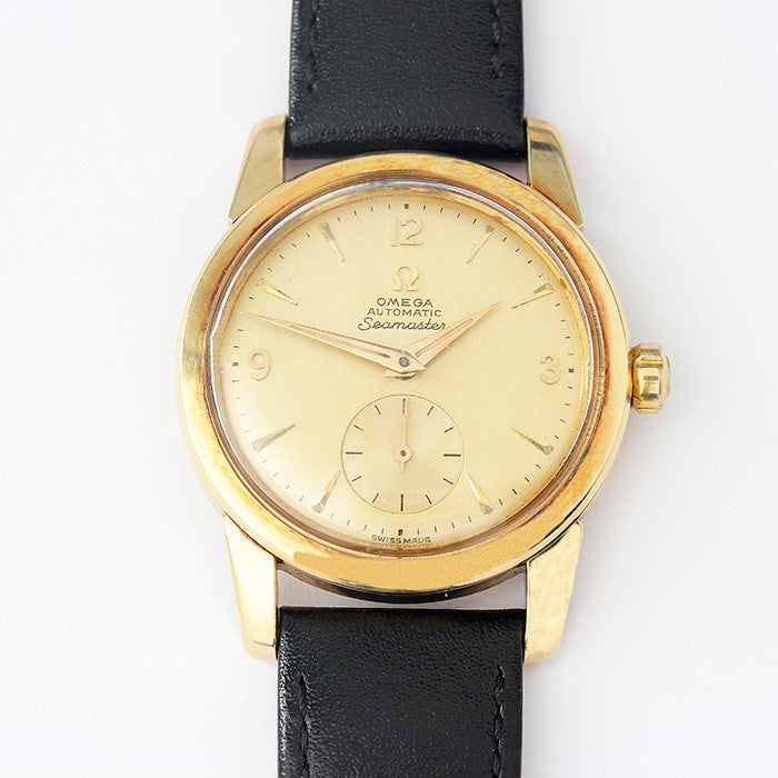 secondhand gents omega seamaster watch 1956 model with gold case and engraving on back