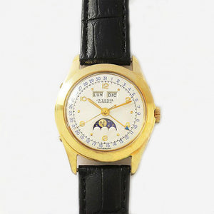a vintage juvenia mens watch black strap calendar and moon feature gold plate case