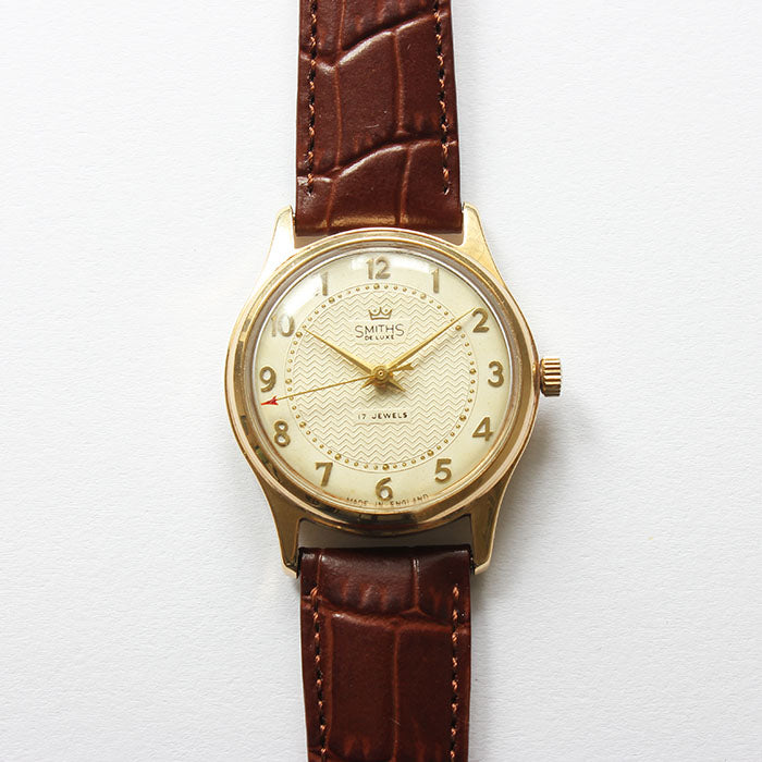 smiths de luxe mens vintage watch made in england with brown strap