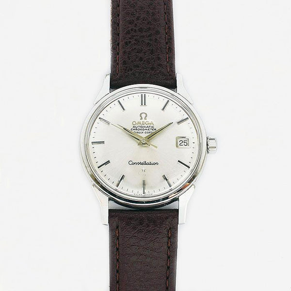 a vintage secondhand omega mens watch stainless steel constellation original box and papers dated 1970
