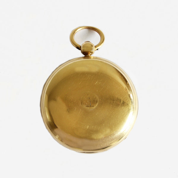 a gold secondhand antique pocket watch in gold