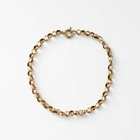 a secondhand yellow gold oval plain belcher design bracelet with a bolt ring clasp