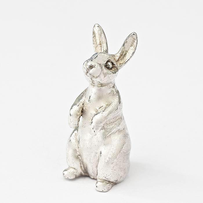 a sterling silver sitting up hare ornament all british made