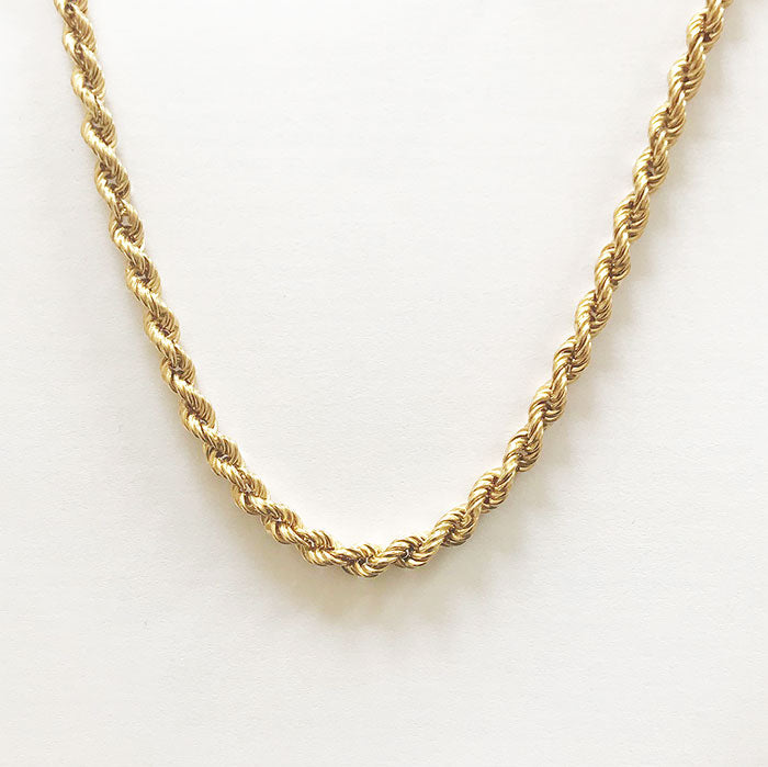 a yellow gold solid twisted rope design necklace with bolt ring clasp