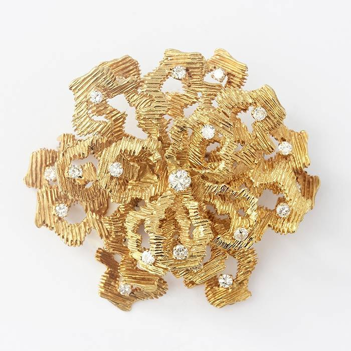 diamond and 18 carat yellow gold abstract floral 1960s brooch