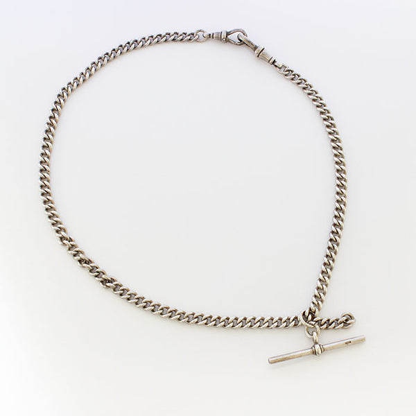 a fine quality silver antique albert chain with t bar and double swivel
