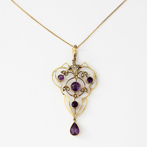 an edwardian amethyst and seed pearl pendant with fine curb link necklace in yellow gold