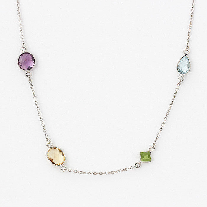 silver amethyst aquamarine citrine and peridot necklace 12 stones total and 60cm long