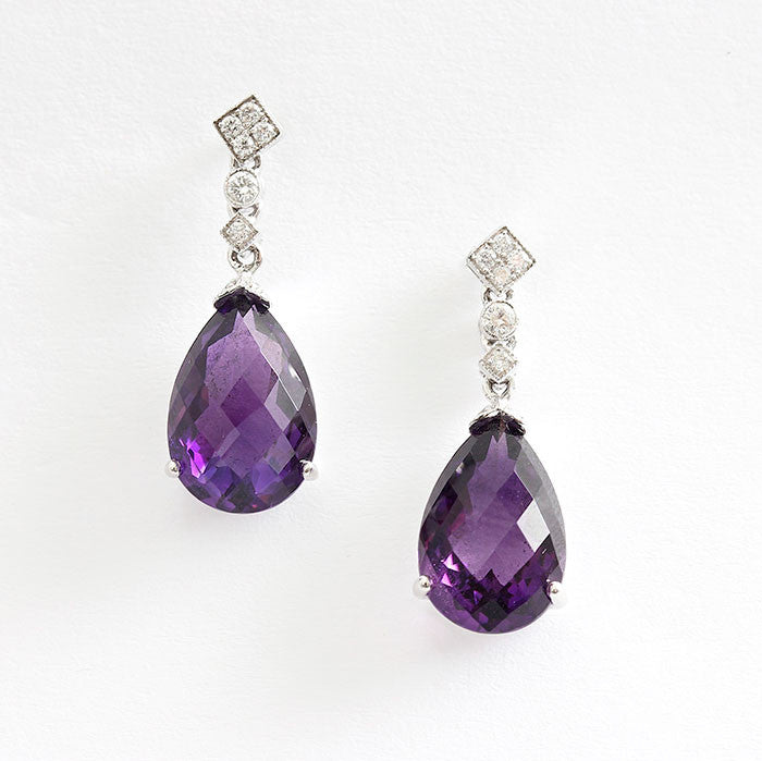 amethyst and diamond drop earrings in white gold at marston barrett lewes