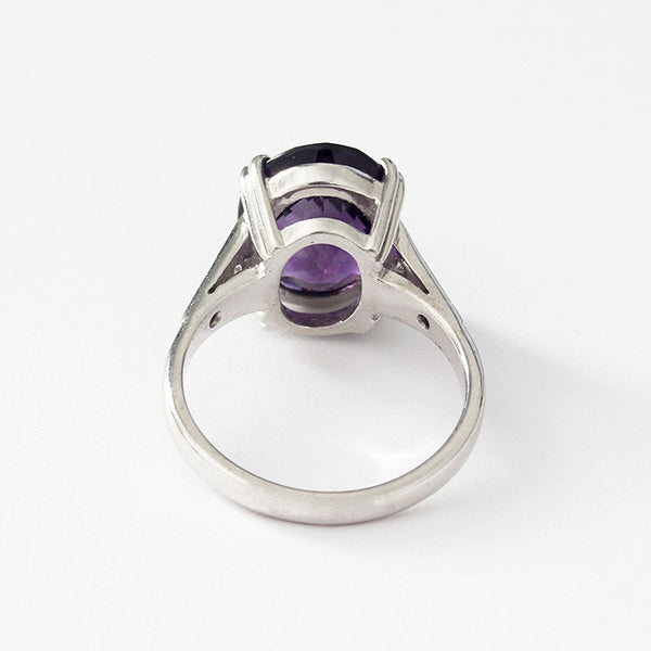 a large oval amethyst and diamond ring set in white gold finger size M 1/2