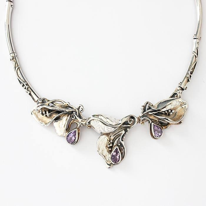 a modern amethyst collar necklace in sterling silver art nouveau style