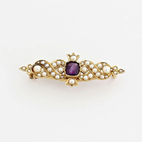 amethyst and pearl art nouveau gold brooch