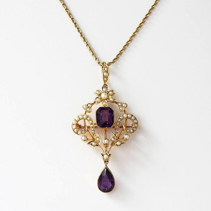 amethyst and seed pearl victorian floral shaped pendant with yellow gold setting and necklace