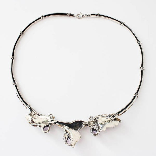 a sterling silver modern amethyst drop shape lily pattern collar necklace