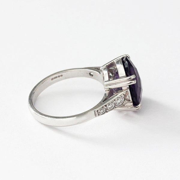 a white gold amethyst and diamond 7 stone ring