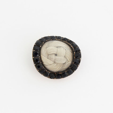 antique mourning brooch with Jet and lock of hair