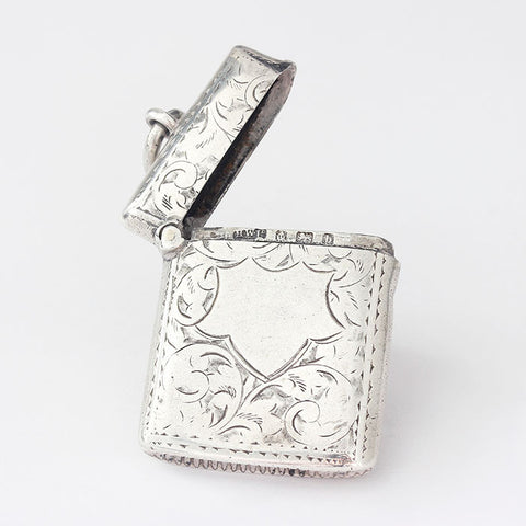 silver vesta case from victorian period full hallmark