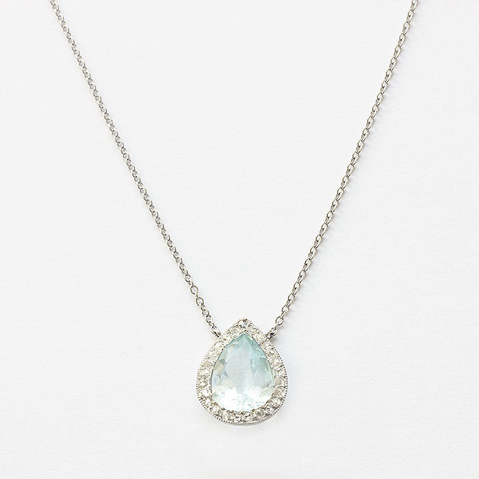 tear drop aquamarine and diamond cluster pendant with chain all in platinum