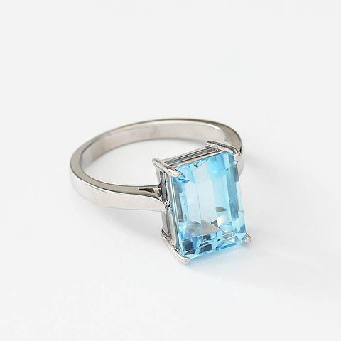 aquamarine claw set large single stone ring in white gold