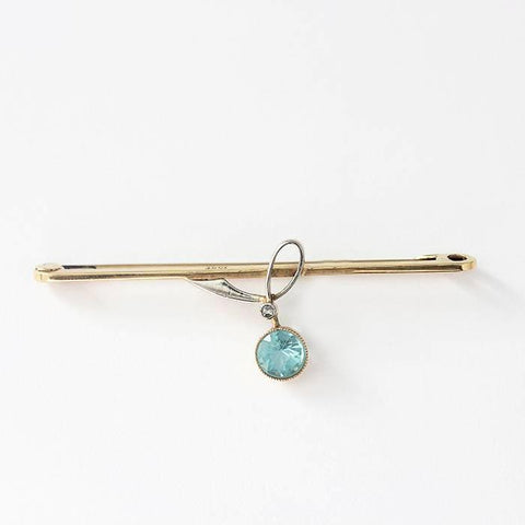 an aquamarine and diamond white and yellow gold 15 carat secondhand brooch
