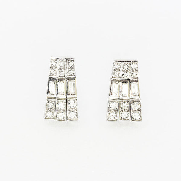 a pair of Art Deco drop diamond 3 row earrings