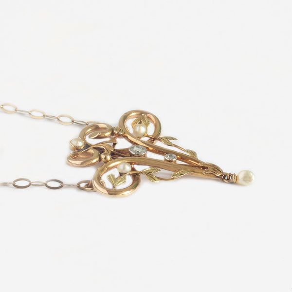 art nouveau seed pearl And Diamond pendant necklace yellow gold