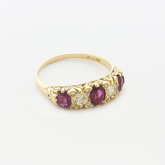 ruby and diamond victorian style ring in yellow gold