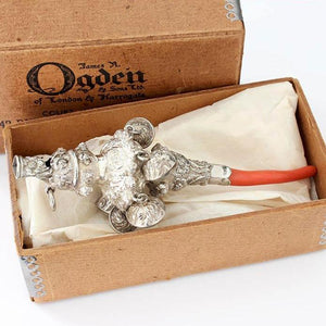 a georgian silver baby rattle with coral teether and 6 bells in original box dated 1832