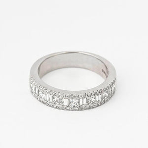 diamond cluster chunky ring in platinum with baguette princess and brilliant cut diamonds