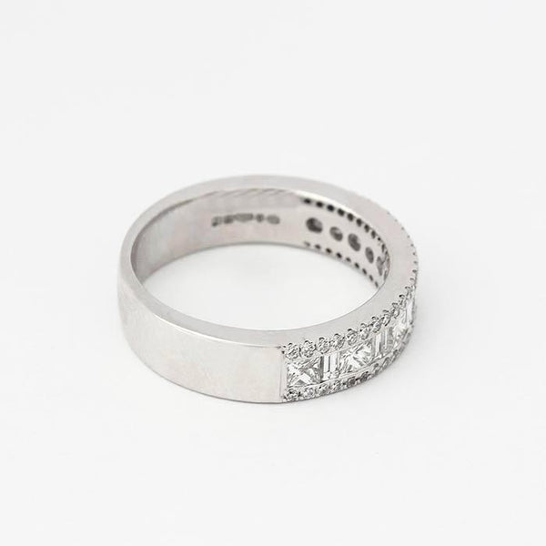 diamond cluster chunky ring in platinum with baguette princess and brilliant cut stones