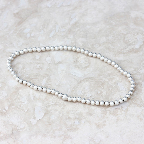 silver bead bracelet elastic thread uniform size