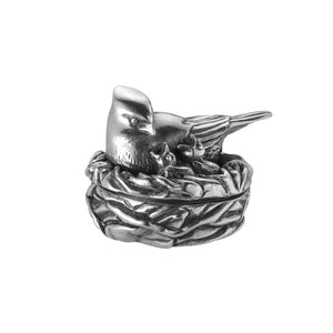 a pewter bird design tooth box by Royal Selangor