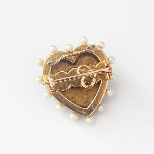 Diamond and Pearl Heart Shaped Victorian Brooch With Enamel - Secondhand