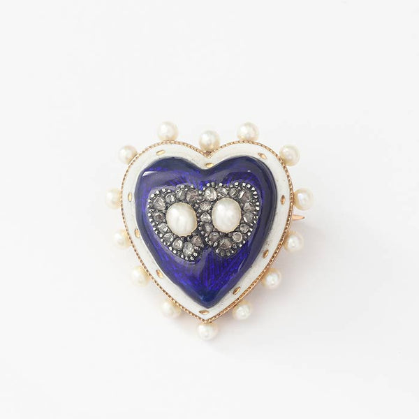 a blue enamel antique heart shaped brooch in gold with pearls diamonds and a detachable bar