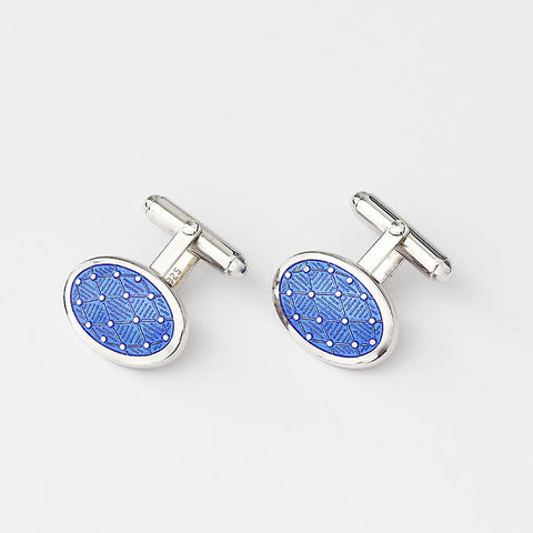 silver oval bar fitting cufflinks with blue enamel