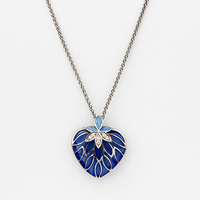 nicole barr silver heart pendant blue colour with diamonds and a fine chain 46cm long